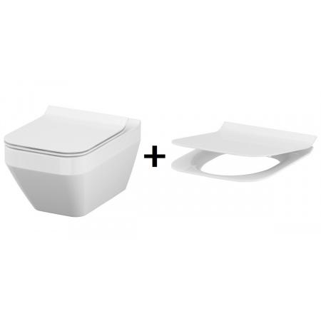 Cersanit Crea Zestaw Toaleta WC podwieszana 52x35 cm prostokątna CleanOn z deską sedesową wolnoopadającą Slim, biała S701-213