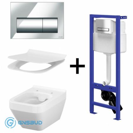 Cersanit Crea Zestaw Toaleta WC podwieszana CleanOn bez kołnierza z deską sedesową wolnoopadającą Slim, stelażem podtynkowym Hi-Tec i przyciskiem Presto, biały/chrom S701-223