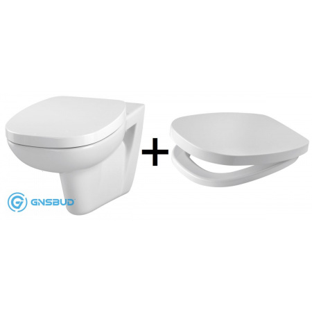 Cersanit Facile Zestaw Toaleta WC podwieszana z deską sedesową wolnoopadającą Slim, biały K707-001