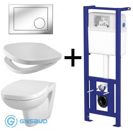 Cersanit Facile Zestaw Toaleta WC podwieszana z deską sedesową wolnoopadającą, stelażem Link i przyciskiem Link Kółko, biały S701-207
