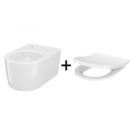 Cersanit Inverto Zestaw Toaleta WC podwieszana 52x35,5 cm StreamOn bez kołnierza z deską wolnoopadającą Slim biały S701-419
