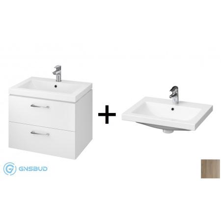 Cersanit Lara Como SET 809 Zestaw Umywalka meblowa z szafką podumywalkową, biały/orzech S801-148-DSM