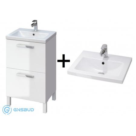 Cersanit Melar/Como Zestaw Umywalka z szafką 50x40 cm, biały S614-009+K32-002-BOX