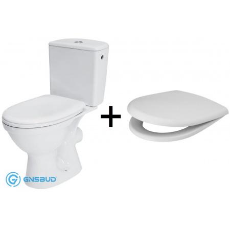 Cersanit Merida Zestaw Toaleta WC kompaktowa z deską wolnoopadającą i zbiornikiem biała K03-018
