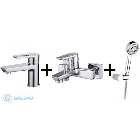 Cersanit Mille Zestaw Bateria umywalkowa z baterią wannowo-prysznicową i zestawem prysznicowym Lano, chrom S952-003