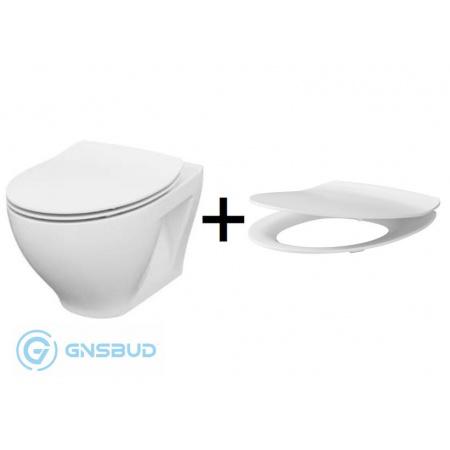 Cersanit Moduo Zestaw Toaleta WC podwieszana 52,5x35,5 cm CleanOn bez kołnierza z deską sedesową wolnoopadającą Slim, biały K701-147