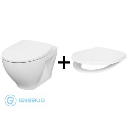 Cersanit Moduo Zestaw Toaleta WC podwieszana 52,5x35,5 cm CleanOn bez kołnierza z deską sedesową wolnoopadającą Slim Wrap, biały K701-262