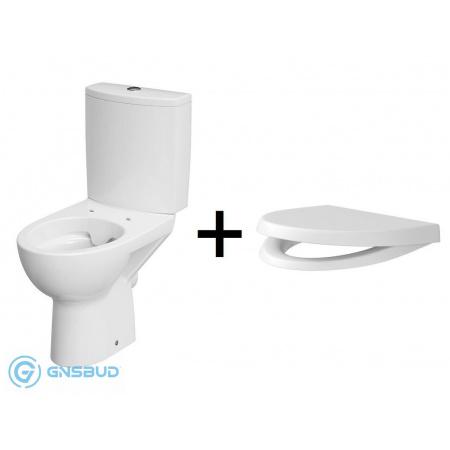 Cersanit Parva New Zestaw Toaleta WC kompaktowa CleanOn bez kołnierza z deską sedesową wolnoopadającą i zbiornikiem z dopływem z boku, biały K27-063