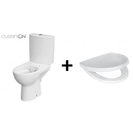 Cersanit Parva Zestaw Toaleta WC kompaktowa 35x61x77,5 cm CleanOn bez kołnierza wewnętrznego i z deską sedesową wolnoopadającą Duroplast, biały K27-062+K98-0122