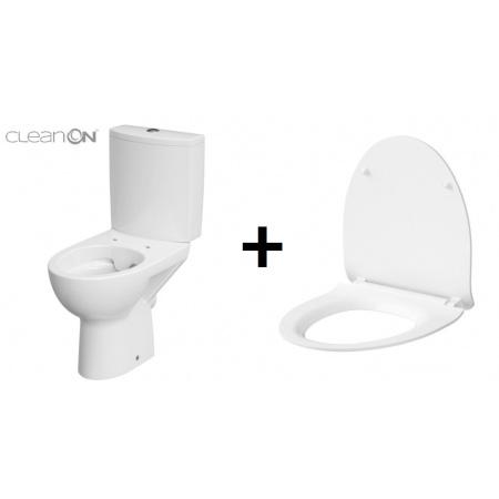 Cersanit Parva Zestaw Toaleta WC kompaktowa 35x61x77,5 cm CleanOn bez kołnierza wewnętrznego i z deską sedesową wolnoopadającą Slim, biały K27-062+K98-0136