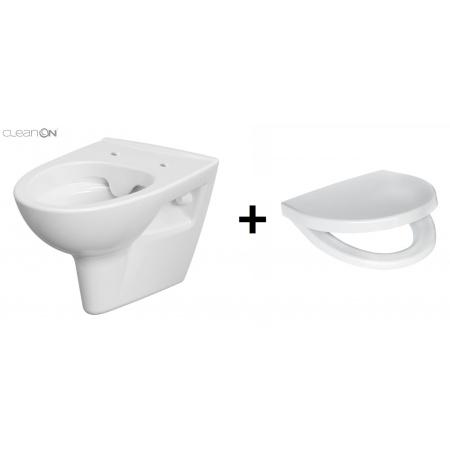 Cersanit Parva Zestaw Toaleta WC podwieszana 34,5x51x36,5 cm CleanOn bez kołnierza wewnętrznego i z deską sedesową wolnoopadającą Duroplast, biały K27-061+K98-0122