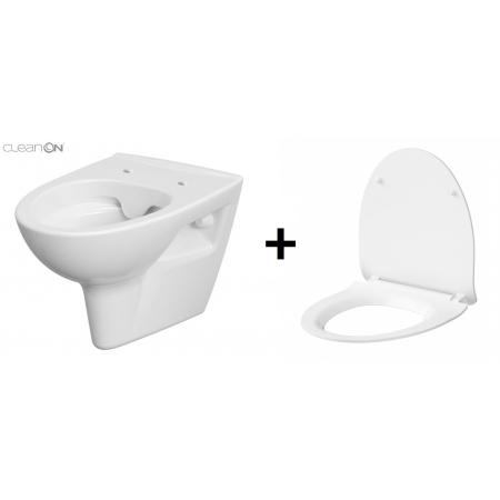 Cersanit Parva Zestaw Toaleta WC podwieszana 34,5x51x36,5 cm CleanOn bez kołnierza z deską sedesową wolnoopadającą Slim, biały K27-061+K98-0136
