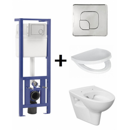 Cersanit Parva Zestaw Toaleta WC podwieszana CleanOn z deską sedesową wolnoopadającą, stelażem Link i przyciskiem Presto, S701-067