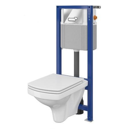 Cersanit Set 880 Aqua Zestaw Toaleta WC podwieszana 52x35,5 cm CleanOn bez kołnierza z deską sedesową wolnoopadającą slim i stelażem mechanicznym Aqua 22, biały S701-203