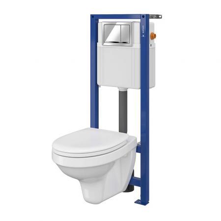 Cersanit Set 896 Aqua Zestaw Toaleta WC podwieszana 52x36 cm z deską sedesową wolnoopadającą i stelażem mechanicznym Aqua 22, biały S701-217