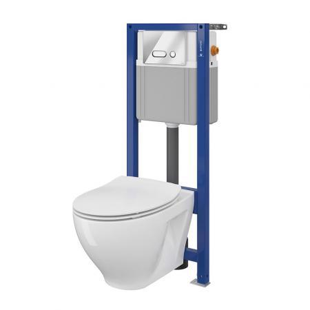 Cersanit Set 939 Aqua Zestaw Toaleta WC podwieszana 52,5x35,5 cm CleanOn bez kołnierza z deską sedesową wolnoopadającą slim i stelażem mechanicznym Aqua 22, biały K701-234