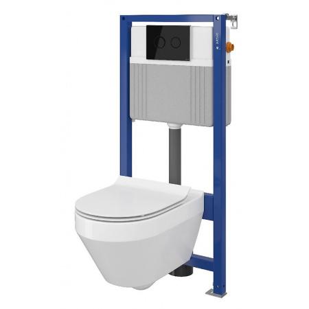 Cersanit Set B22 Aqua Zestaw Toaleta WC podwieszana 52x35,5 cm CleanOn bez kołnierza z ukrytym mocowaniem z deską sedesową wolnoopadającą i stelażem pneumatycznym Aqua 52, biały S701-314