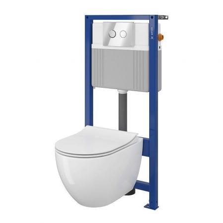 Cersanit Set B226 Aqua Zestaw Toaleta WC podwieszana 50x36 cm CleanOn bez kołnierza z deską wolnoopadającą stelażem i przyciskiem biały S701-411