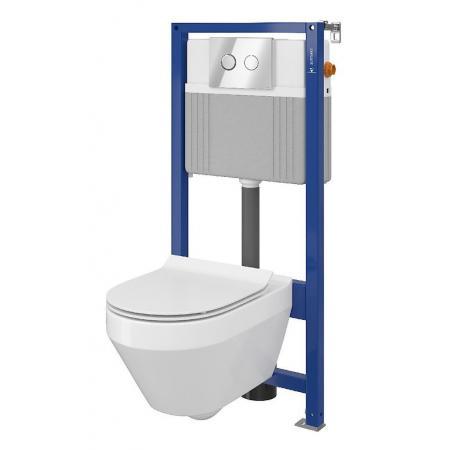 Cersanit Set B23 Aqua Zestaw Toaleta WC podwieszana 52x35,5 cm CleanOn bez kołnierza z ukrytym mocowaniem z deską sedesową wolnoopadającą i stelażem pneumatycznym Aqua 52, biały S701-315