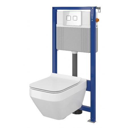 Cersanit Set B24 Aqua Zestaw Toaleta WC podwieszana 52x35 cm CleanOn bez kołnierza z ukrytym mocowaniem z deską sedesową wolnoopadającą i stelażem pneumatycznym Aqua 52, biały S701-316