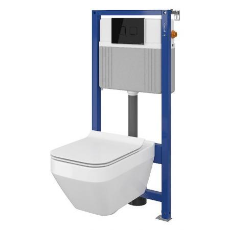 Cersanit Set B25 Aqua Zestaw Toaleta WC podwieszana 52x35 cm CleanOn bez kołnierza z ukrytym mocowaniem z deską sedesową wolnoopadającą i stelażem pneumatycznym Aqua 52, biały S701-317