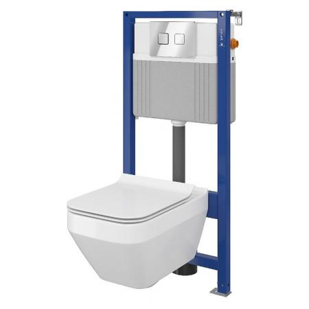 Cersanit Set B26 Aqua Zestaw Toaleta WC podwieszana 52x35 cm CleanOn bez kołnierza z ukrytym mocowaniem z deską sedesową wolnoopadającą i stelażem pneumatycznym Aqua 52, biały S701-318