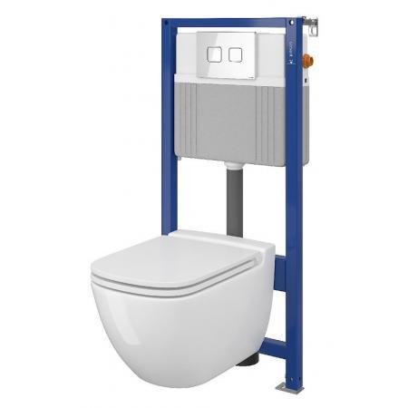 Cersanit Set B27 Aqua Zestaw Toaleta WC podwieszana 54x36,5 cm CleanOn bez kołnierza z ukrytym mocowaniem z deską sedesową wolnoopadającą i stelażem pneumatycznym Aqua 52, biały S701-319