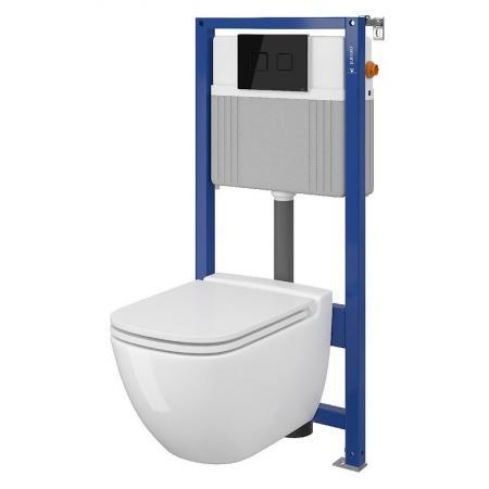Cersanit Set B28 Aqua Zestaw Toaleta WC podwieszana 54x36,5 cm CleanOn bez kołnierza z ukrytym mocowaniem z deską sedesową wolnoopadającą i stelażem pneumatycznym Aqua 52, biały S701-320