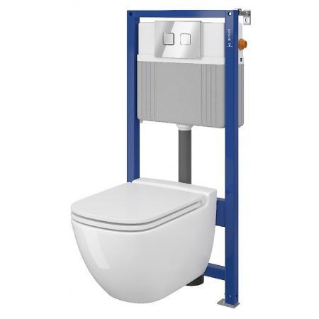Cersanit Set B29 Aqua Zestaw Toaleta WC podwieszana 54x36,5 cm CleanOn bez kołnierza z ukrytym mocowaniem z deską sedesową wolnoopadającą i stelażem pneumatycznym Aqua 52, biały S701-321