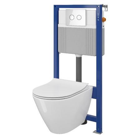 Cersanit Set B30 Aqua Zestaw Toaleta WC podwieszana 54x36,5 cm CleanOn bez kołnierza z ukrytym mocowaniem z deską sedesową wolnoopadającą i stelażem pneumatycznym Aqua 52, biały S701-322