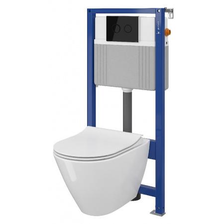 Cersanit Set B31 Aqua Zestaw Toaleta WC podwieszana 54x36,5 cm CleanOn bez kołnierza z ukrytym mocowaniem z deską sedesową wolnoopadającą i stelażem pneumatycznym Aqua 52, biały S701-323