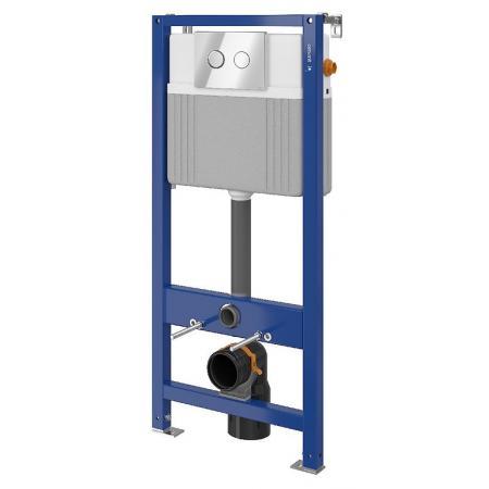 Cersanit Set B80 Aqua Zestaw Stelaż pneumatyczny podtynkowy do WC Aqua 52 z przyciskiem Accento Circle, chrom błyszczący S701-331