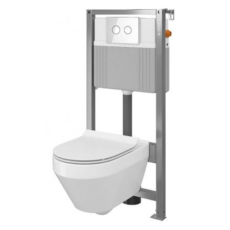 Cersanit Set B33 Aqua Zestaw Toaleta WC podwieszana 52x35,5 cm CleanOn bez kołnierza z ukrytym mocowaniem z deską sedesową wolnoopadającą i stelażem pneumatycznym Aqua 72, biały S701-287