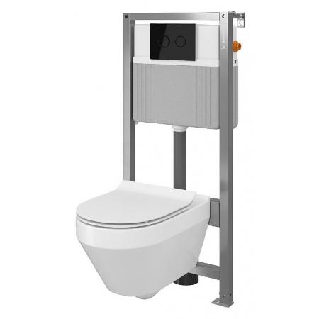 Cersanit Set B34 Aqua Zestaw Toaleta WC podwieszana 52x35,5 cm CleanOn bez kołnierza z ukrytym mocowaniem z deską sedesową wolnoopadającą i stelażem pneumatycznym Aqua 72, biały S701-288