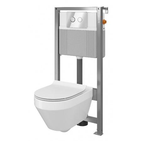 Cersanit Set B35 Aqua Zestaw Toaleta WC podwieszana 52x35,5 cm CleanOn bez kołnierza z ukrytym mocowaniem z deską sedesową wolnoopadającą i stelażem pneumatycznym Aqua 72, biały S701-289