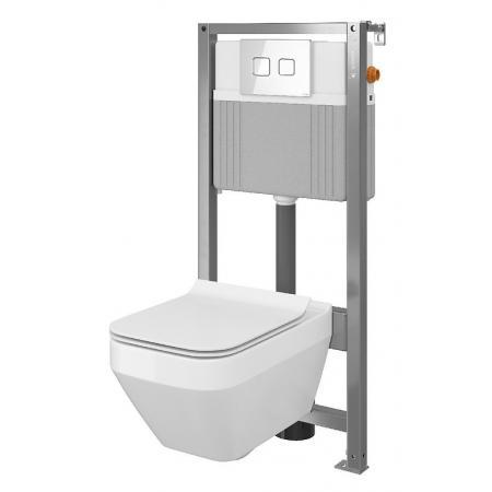 Cersanit Set B36 Aqua Zestaw Toaleta WC podwieszana 52x35 cm CleanOn bez kołnierza z ukrytym mocowaniem z deską sedesową wolnoopadającą i stelażem pneumatycznym Aqua 72, biały S701-290