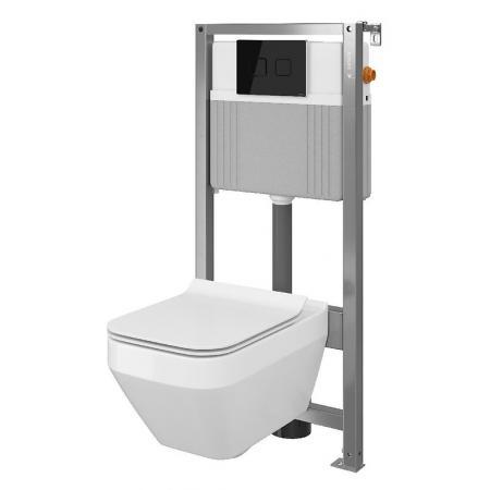 Cersanit Set B37 Aqua Zestaw Toaleta WC podwieszana 52x35 cm CleanOn bez kołnierza z ukrytym mocowaniem z deską sedesową wolnoopadającą i stelażem pneumatycznym Aqua 72, biały S701-291