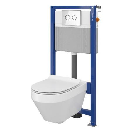Cersanit Set B21 Aqua Zestaw Toaleta WC podwieszana 52x35,5 cm CleanOn bez kołnierza z ukrytym mocowaniem z deską sedesową wolnoopadającą i stelażem pneumatycznym Aqua 52, biały S701-313