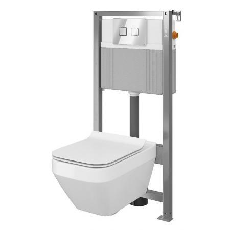 Cersanit Set B38 Aqua Zestaw Toaleta WC podwieszana 52x35 cm CleanOn bez kołnierza z ukrytym mocowaniem z deską sedesową wolnoopadającą i stelażem pneumatycznym Aqua 72, biały S701-292