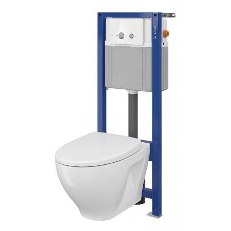 Cersanit Set B39 Aqua Zestaw Toaleta WC podwieszana 52,5x35,5 cm CleanOn bez kołnierza z deską sedesową wolnoopadającą slim i stelażem mechanicznym Aqua 22, biały S701-293
