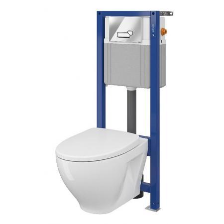 Cersanit Set B41 Aqua Zestaw Toaleta WC podwieszana 52,5x35,5 cm CleanOn bez kołnierza z deską sedesową wolnoopadającą slim i stelażem mechanicznym Aqua 22, biały S701-311