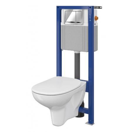 Cersanit Set B49 Aqua Zestaw Toaleta WC podwieszana 52x35,5 cm CleanOn bez kołnierza z deską sedesową wolnoopadającą i stelażem mechanicznym Aqua 22, biały S701-301