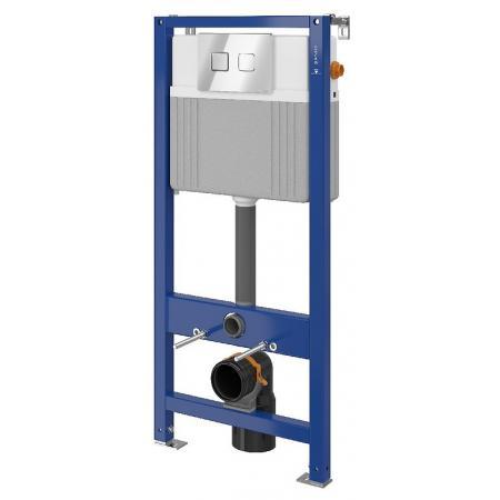 Cersanit Set B81 Aqua Zestaw Stelaż pneumatyczny podtynkowy do WC Aqua 52 z przyciskiem Accento Square, chrom błyszczący S701-332