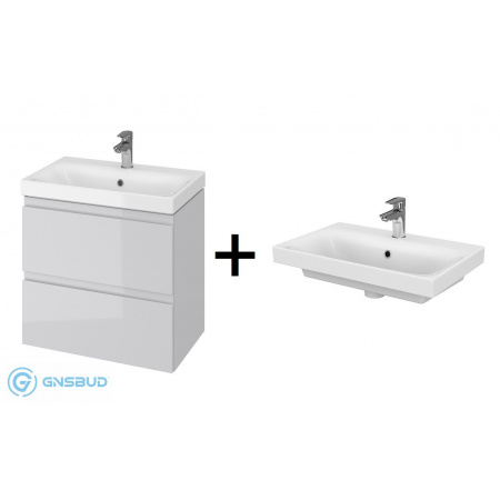 Cersanit Moduo Slim SET 980 Zestaw Umywalka meblowa 60x38 cm z szafką podumywalkową, biały/szary S801-226