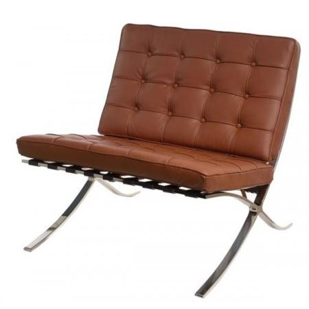 D2 BA1 Fotel inspirowany Barcelona 77x77x75 cm, brązowy 82974