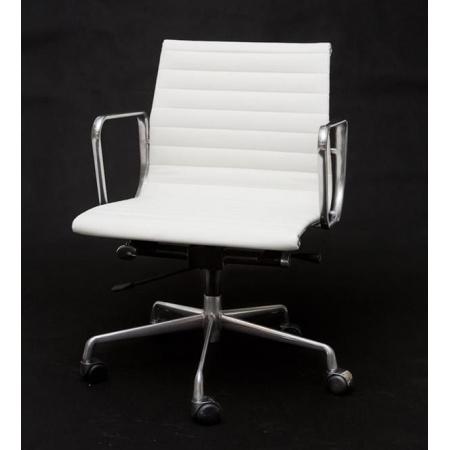 D2 CH Fotel biurowy inspirowany EA117 skóra 59x58 cm, chrom/biały 27712