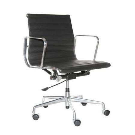 D2 CH Fotel biurowy inspirowany EA117 skóra 59x58 cm, chrom/czarny 24968