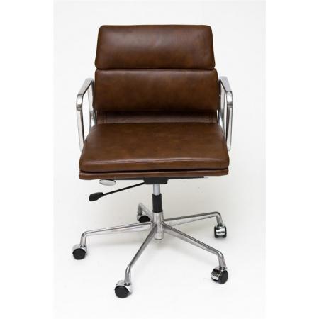 D2 CH Fotel biurowy inspirowany EA217 skóra 59x60 cm, brązowy 9783