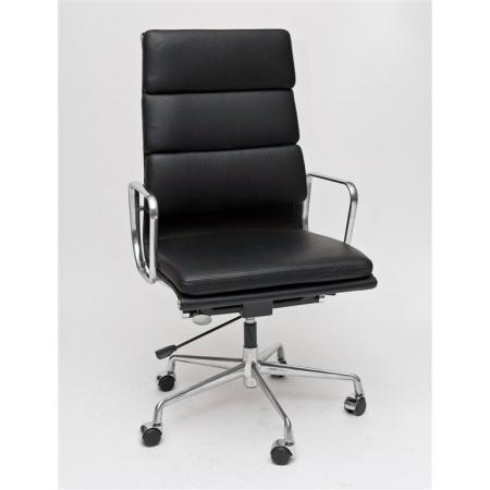 D2 CH Fotel biurowy inspirowany EA219 skóra 59x60 cm, chrom/czarny 27745