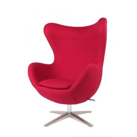 D2 Jajo Fotel inspirowany Egg szeroki tkanina 80x70x112 cm, czerwony 40985